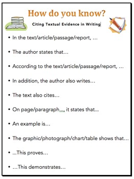 Citing Textual Evidence - Sentence Starters for Writing