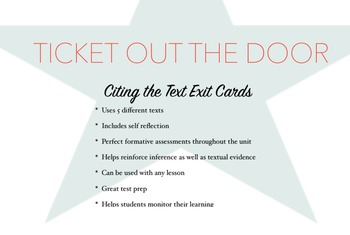 Citing the Text Exit Cards *CCSS Aligned *Bundle (Includes