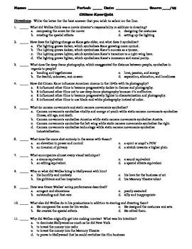 Citizen Kane 25-Question Multiple Choice Quiz