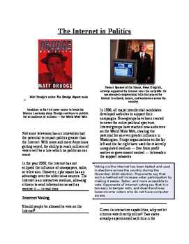 Informational Text-Citizens and Government: The Internet a