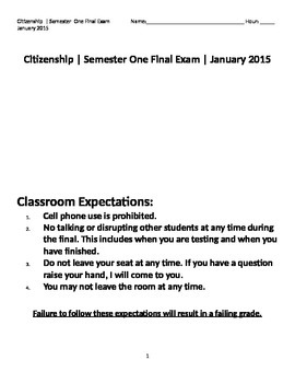 Citizenship (Civics) Final Exam (English)