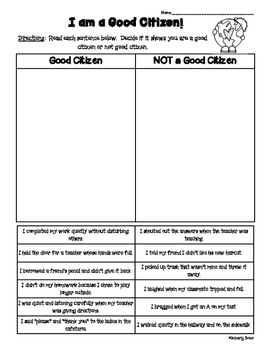 Citizenship Sorting Activity - Good Citizen or Not?  Works