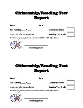 Citizenship and Reading Test Weekly Report