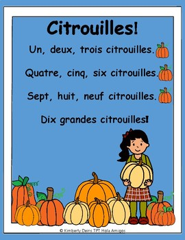 Citrouilles! French pumpkin song, posters, flash cards,&co