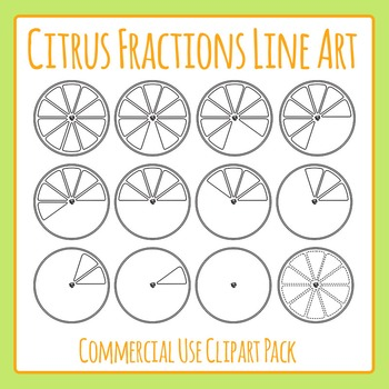 Citrus Orange or Lemons Fractions Black & White Clip Art S