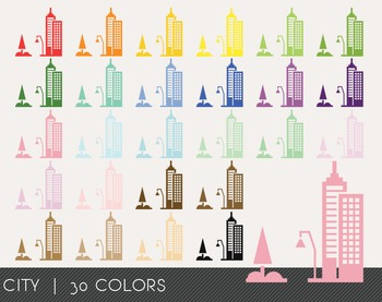 City Digital Clipart, City Graphics, City PNG, Rainbow Cit