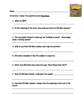 City Green comprehension questions