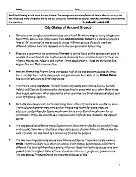 City States in Greece Comprehension Test