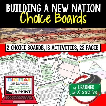 Civics Building a New Nation Choice Boards and Activities