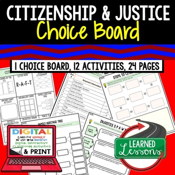 Civics Citizenship and Justice Choice Board & Activities P