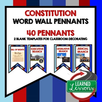 Civics Constitution Word Wall Pennants
