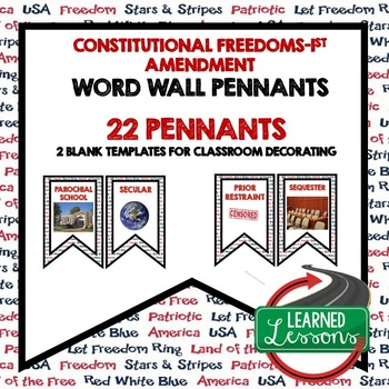 Civics Constitutional Freedoms and Rights Word Wall Pennants
