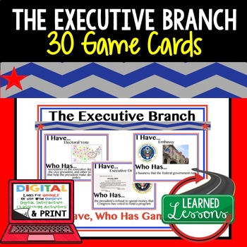 Civics Executive Branch Game Cards (I Have Who Has Cards)