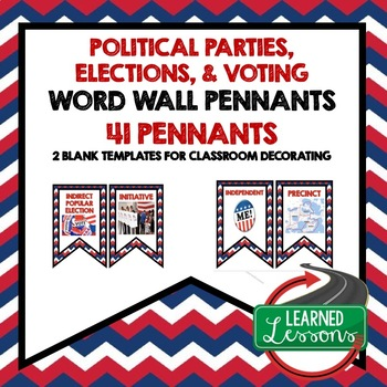 Civics Politics, Voting, and Elections Pennant Word Wall