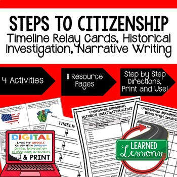 Civics Steps to Citizenship Sequencing & Writing (Paper &