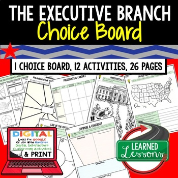Civics The Executive Branch Choice Board and Activities Pa