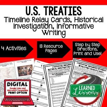 Civics U.S. Treaties Timeline & Writing Activities Paper &