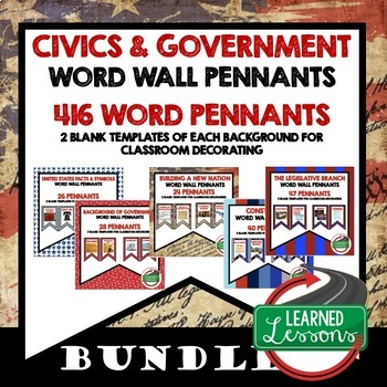 Civics and Government Pennant Word Wall BUNDLE (419 Words)