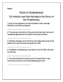 Civil War Five Question Pretest: 5th Grade Social Studies