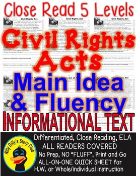 Civil Rights Acts 5 Levels Info Text Main Idea Fluency TDQ