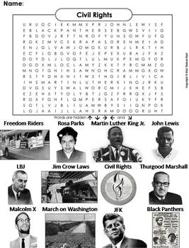 Civil Rights Heroes Worksheet/ Word Search (Black History