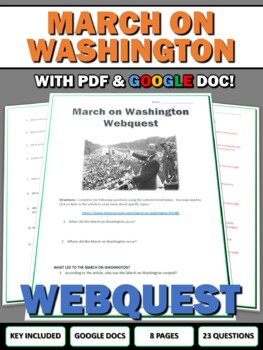 Civil Rights - March on Washington - Webquest with Key