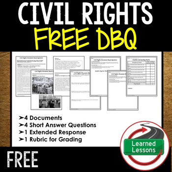 Civil Rights Movement Document Based Questions DBQ Free #KINDNESSNATION by Learned Lessons