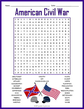 American Civil War Word Search Puzzle