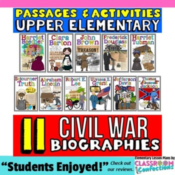 Civil War: Reading: Biography Passages: 4th-5th Grade Soci
