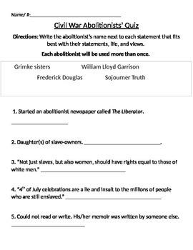 Civil War Abolitionist Quiz