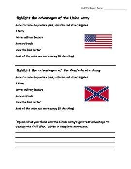 Civil War Advantages of Each Side