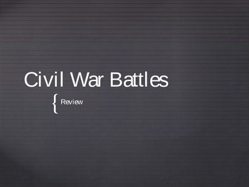 Civil War Battles Review Game