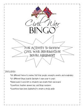 Civil War Review Game - Bingo