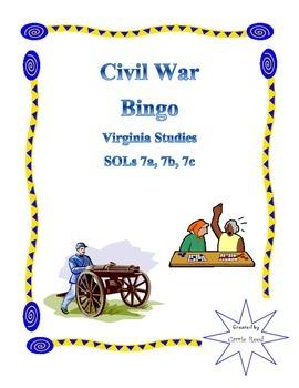 Civil War Bingo: Virginia Studies SOLs 7a, 7b, 7c