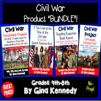 Civil War Enrichment Projects, Book Report and Scrapbook BUNDLE!