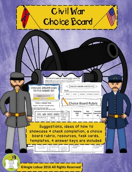 Civil War Choice Board: Suggestions, Resources & Task Card