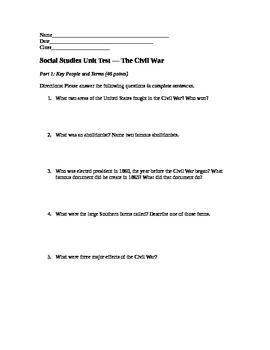 Civil War Exam