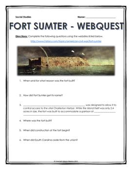 Civil War - Fort Sumter - Webquest with Key