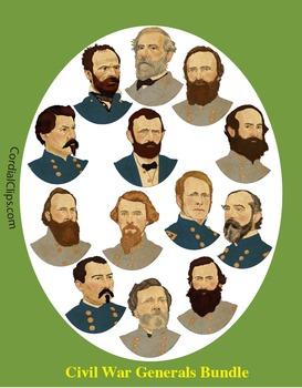 13 Civil War Generals Bundle Realistic Clip Art, Coloring