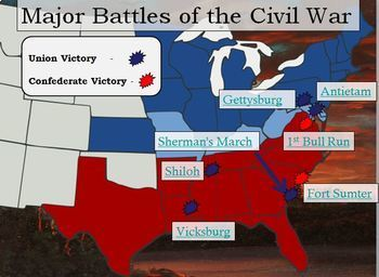 Civil War Interactive Battle Map and Worksheet w/ key