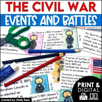 Civil War  - Interactive Notebook Foldables &Timeline