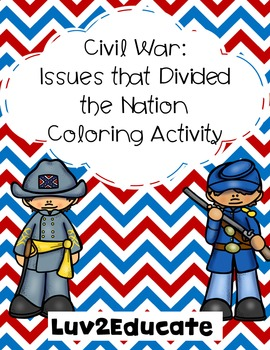 Civil War: Issues That Divided the Nation Coloring Activity