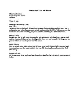 Civil War List Group Label Review Strategy