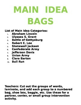 Civil War Main Idea Bags