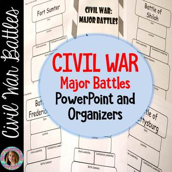 Civil War {Major Battles PPT and Organizers}