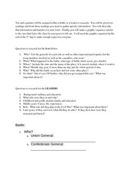 Civil War Partner Reading Project