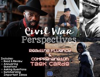 Civil War Perspectives Task Cards for Reading Fluency & Co