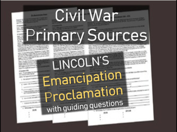Civil War Primary Source Document: EMANCIPATION PROCLAMATI