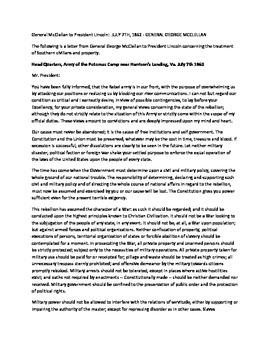 Civil War Primary Source: General McClellan Letter to Pres