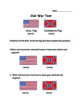 Civil War Accommodated test for SPED/ELL students